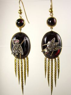 Authentic and Rare...English Victorian Fringed Earrings with Garnet & Diamonds by TreasurlybyDima