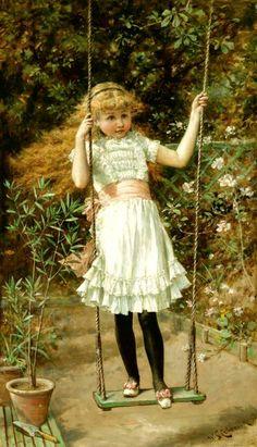 The Garden Swing by William Stephen Coleman - | La Hamaca del Jardin #painting #art #pintura