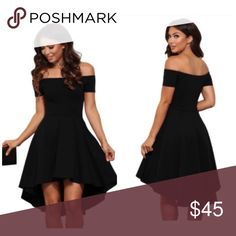 """🆕Black cocktail skater dress Off the shoulder dress 95%polyester 5% Spandex. (US 8-10) M (US 12-14)L.   Approx. 28"""" side seam (Measured from under the arm to the hem of the garment.) 65% Rayon, 30% Nylon, 5% Spandex Hand wash cold. Low iron. Dresses High Low"""