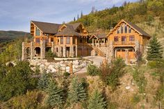 See more luxurious log cabins by browsing our collection of mountain house plans Haus Am See, Log Cabin Homes, Log Cabins, Log Cabin Exterior, Mountain Homes, Big Mountain, Design Hotel, Design Design, Interior Modern