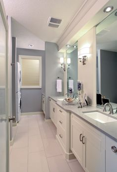long bathroom interior with laundry room ideas