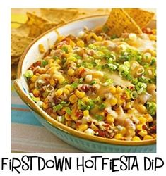 Hot Fiesta Dip A little cheesy, a little sweet, a lot of crunch: our 1 PointsPlus value recipe for corn-and-salsa Hot Fiesta Party Dip just might win MVP of the snack table during the big game. Skinny Recipes, Ww Recipes, Mexican Food Recipes, Cooking Recipes, Recipies, Healthy Snacks, Healthy Eating, Healthy Recipes, Clean Eating