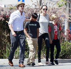 Family: Brad Pitt and Angelina Jolie took their kids Pax and Shiloh to Toys 'R' Us in Glen...