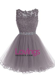 2016 Homecoming Dresses Scoop A Line Tulle With Applique And Beads