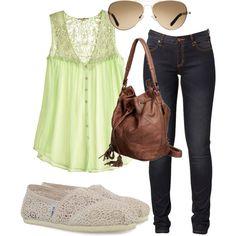 limeg green silk lace top + dark wash jeans + brown 3 way bucket shoulder bag + crochet Toms + gold avaitors