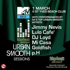 The smoothest talent and the hottest celebs all roll into St Yves tonight for the MTV Base & Klipdrift Premium Urban Smooth Session. See you there Premium People! St Yves, Beach Club, Mtv, Smooth, Celebs, Base, Events, Urban, People