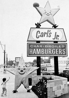 So vintage, lol @ the guy in the star costume! Vintage Diner, Vintage Signs, Vintage Ads, Vintage Photos, Restaurant Signs, Vintage Restaurant, Pizza Hut Restaurant, Carl's Jr, Pin Up