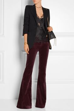 Breathtaking 9 Fancy Women's Flared Pants Ideas Which You Can Combine With Various Outfits You Have Women's Flared Pants are women's trousers that have a wide shape at the bottom. This is a strong characteristic of flare pants. These pants are a type. Velvet Flare Pants, Women's Flares, Outfit Goals, Outfit Ideas, Pants Outfit, Fashion Outfits, Womens Fashion, Korean Fashion, Winter Fashion