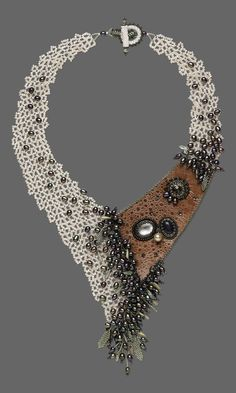Jewelry Design - Bib-Style Necklace with Seed Beads, Leather and Gemstone Caboch. - Jewelry Design – Bib-Style Necklace with Seed Beads, Leather and Gemstone Cabochons – Fire Moun - Seed Bead Necklace, Seed Bead Jewelry, Jewelry Art, Gemstone Jewelry, Beaded Jewelry, Handmade Jewelry, Jewelry Necklaces, Beaded Necklace, Fashion Jewelry