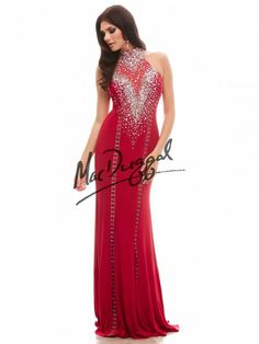 76733A | Mac Duggal... this long red rocker chic prom dress features amazing possibilities that you can personally create. With a high collar and sheer illusion back, glass cut stones and silver sequins sparkle on this rocker chic prom dress. As the silver embellishments sparkle along the bodice and back, hook-and-eye fasteners line both the front and back of this stretch jersey dress. These silver fasteners can be opened or closed in whichever style you like.