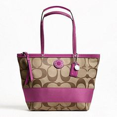 Amazon.com: Coach Signature Stripe Stripe Tote Shoulder Handbag, F19046 Silver/Khaki/Berry: Shoes