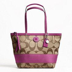 Amazon.com: Coach Signature Stripe Stripe Tote Shoulder Handbag, F19046 Silver/Khaki/Berry: Shoes