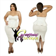 ● □ NEW ARRIVAL ● □   OFF WHITE SWEETHEART PEPLUM DRESS   ( MODEL WEARING 1X )   SIZE :  1X  2X  3X    COLORS :  BLACK  OFF WHITE   WWW.CURVACEOUSBOUTIQUE.COM & IN STORE   { { VISIT THE WEBSITE FOR ALL DETAILS & PRICE } }