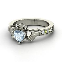 Claddagh Ring, Heart Aquamarine Sterling Silver Ring with Peridot. I WANT THIS!