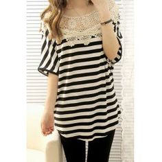 Stylish Scoop Neck Striped Lace Embellished Hlaf Sleeve Women's T-ShirtT-Shirts | RoseGal.com
