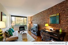 Brick Wall Accents in 15 Living Room Designs   Home Design Lover