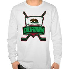 #California #Hockey Shield Logo Long Sleeve T-Shirt. $25.95. To see this design on a range of other products, please visit my store: www.zazzle.com/gamefacegear*/   #LAKings #StanleyCup #BecauseItsTheCup