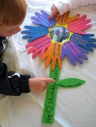 """Hand print flower: """"we love you because..."""""""