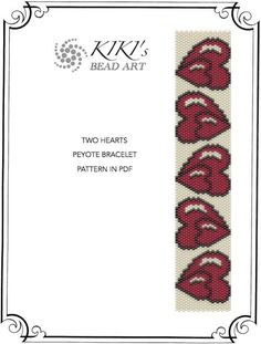 Pattern, peyote bracelet - Two hearts peyote bracelet cuff pattern in PDF instant download