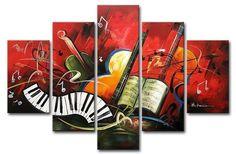 Tela 5pc NO marco. Arte abstracto de la pintura al óleo ...