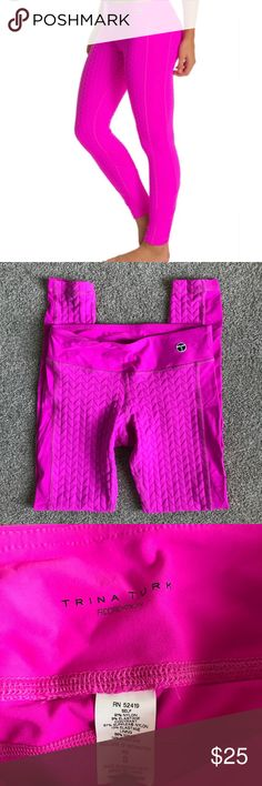 """Trina Turk Bermuda Triangle Leggings Pants Yoga S Excellent condition, Trina Turk Recreation Bermuda Triangle Leggings in size small. Hot pink  Approx. Measurements... Waist -26"""" Inseam - 27"""" Rise - 8.5""""  All reasonable offers will be considered   Comes from my clean, smoke/pet free home.   Thanks for looking! Trina Turk Pants Track Pants & Joggers"""