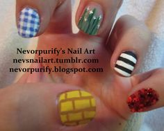 Wizard of Oz nails! omg I have always wanted to do that to my nails Love Nails, Fun Nails, Pretty Nails, Mani Pedi, Manicure, Over The Rainbow, Wizard Of Oz, Free Gift Cards, Nails Inspiration