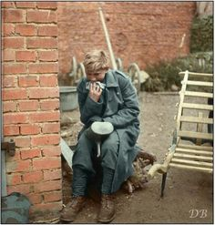 Hans-Georg Henke - 16 year old German Flakhelfer crying after being captured by the US 9th Army in Germany on April 3, 1945