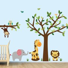 Jungle Wall Decals, Monkey Wall Decal, Kids Wall Decals, Giraffe Wall Decals,  Elephant, Tree Decal, Safari, New Evergreen Decal. $89.99, via Etsy.