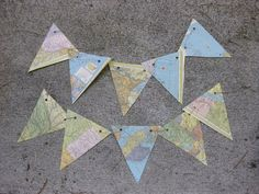Flags/Bunting made from recycled maps