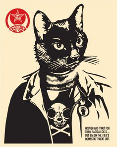 Radical Cat Screen print 8 x 10 inches 2014 Available at Cat Art Show LA on January 25th.