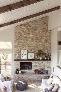 Off-center fireplace wall w/ chunky mantle, vaulted ceiling + seating. Off Center Fireplace, Fireplace Wall, Living Room With Fireplace, Fireplace Stone, Fireplace Ideas, Small Fireplace, Stone Fireplace Makeover, Fireplace Drawing, Craftsman Fireplace