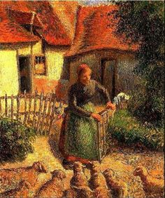 Camille Pissarro - La bergère rentrant des moutons (Shepherdess bringing in sheep), 1886. Oil on canvas, 38.1 x 46.4 cm. Courtesy the Fred Jones Jr. Museum of Art at the University of Oklahoma