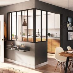 Image search result for kitchen door # furniture of rnrnSource by JeanetteFournier Interior Design Minimalist, Home Interior Design, Glass Partition Designs, Door Dividers, Glass Kitchen, Interior Exterior, Kitchen Furniture, Home Kitchens, Home Remodeling