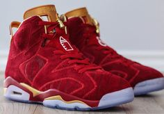 Air Jordan 6 Blood Red Doernbecher Custom designed by Jack the Ripper takes the originals Air Jordan 6 Doernbecher and dresses it in Blood Red and Gold.