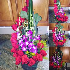Spiral Tropicana flower arrangement with red roses with purple orchids. Original floral design by GC Floral Creations a floral boutique located in Carlsbad California and serving San Diego California. #GCFloralCreations #SanDiegoFlorist #flowers #orchid #roses #flowers #smallBusiness #localflorist #CarlsbadFlorist