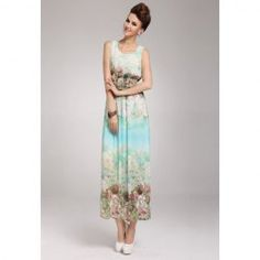 Absolutely stunning! Monet inspired!  $12.40 Floral Print Scoop Neck Sleeveless Chiffon Refreshing Style Dress For Women