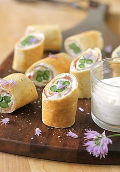 Lovely spring canapes: Asparagus and Prosciutto Crêpes with a Creamy Lemon Dipping Sauce