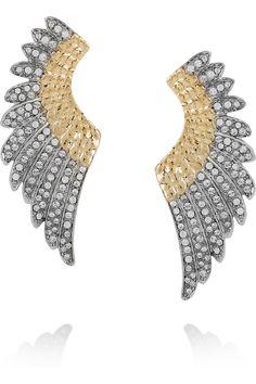 Roberto Cavalli  Gold-plated Swarovski crystal wing earrings  $600