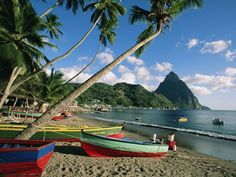 St. Lucia.  Not really a beach, tropics person- but this looks gorgeous.  Just need a hammock!