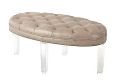 "#L20NL OTTOMAN—Massoud's classic Lucite leg style comes together with silver nail trim and highly glazed full aniline leather to create a wonderful accent. At 48"" long, this versatile oval ottoman is perfectly sized  to add a touch of elegance to  any room or décor style.  Suggested Retail - $1499. #HPmkt MASSOUD 310. N. Hamilton, Suite 104"