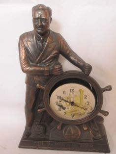 United Electric Mantle Clock FDR Man The Hour Metal Old Roosevelt all catagories