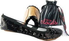 Fit in Clouds offers the perfect fold up shoes covered in sequins, accented with a cute bow on top and adorned with disk-shaped beads. This fold up shoe is super sleek and classy with a thick and comfy non-skid sole. And best of all, no one would even guess its a foldable shoe.  A perfect match with