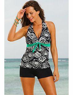 07b3082813a60 Shore Club Tuscon Plus Size Tie Front Halter Boy Shortini Women s Swimsuit  –…