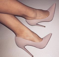 It is possible to find stiletto heels in pumps, sling-backs and boots. Nude high heels are extremely fashionable and appear perfect with black dresses. Stilettos, Stiletto Heels, Nude Heels, Pointed Toe Heels, Black Heels, Heeled Boots, Shoe Boots, Shoes Heels, Heeled Sandals