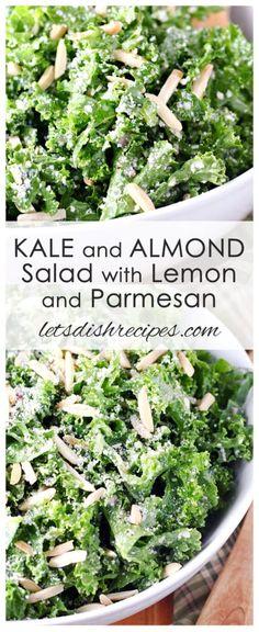 Kale and Almond Salad with Lemon and Parmesan: Fresh kale is tossed with almonds and Parmesan cheese in a tangy lemon vinaigrette. Kale Salad Recipes, Veggie Recipes, Vegetarian Recipes, Dinner Recipes, Cooking Recipes, Healthy Recipes, Best Kale Salad Recipe, Kale Salads, Gourmet