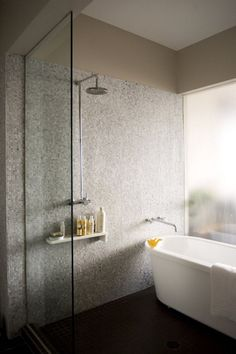 wet room concept with wall mounted faucet.