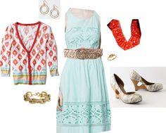 """Bordered Karnali Cardigan/ Bottlegreen Dress/ Rosette Necklace/ Chiseled Wedges"" by jennifoundinmycloset on Polyvore"