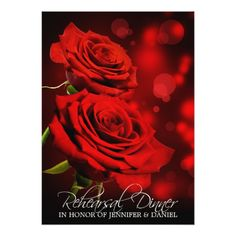 Rose Wedding Rehearsal Romantic Red Roses Rehearsal Dinner Invitation