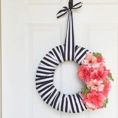 #amylouscraftroom project complete! Here she is... My summer wreath. I'm obsessed with black and white stripes with bright colors lately! Inspired by the gorgeous ladies @hugsandpunches and @jenloveskev and @lifewithadashofwhimsy