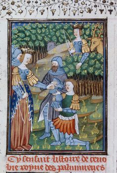 BL Royal 16 G V f.117v - Zenobia hunting, and with her army, and a warrior kneeling before her.[De claris mulieribus in an anonymous French translation (Le livre de femmes nobles et renomées) - G. Boccaccio - 1440] [http://en.wikipedia.org/wiki/De_mulieribus_claris]